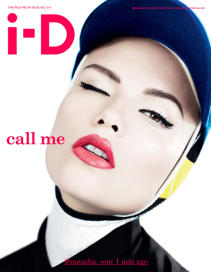 Natasha Poly showed off the traditional i-D wink on the cover of the magazine's pre-fall issue. / Photo by Willy Vanderperre