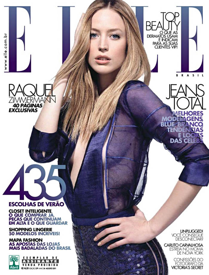 Elle Brazil August 2011 Cover | Raquel Zimmermann by Henrique Gendre