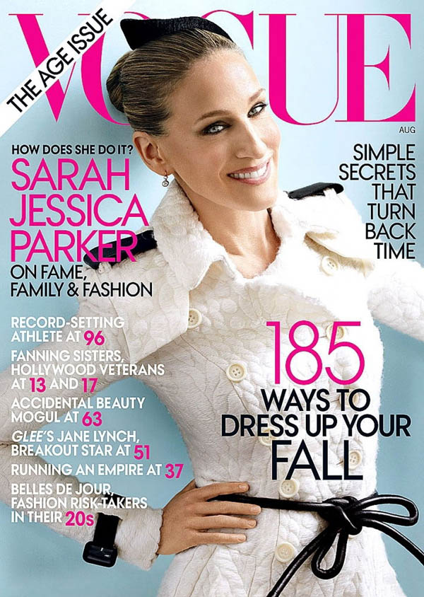 Vogue US August 2011 Cover | Sarah Jessica Parker by Mario Testino
