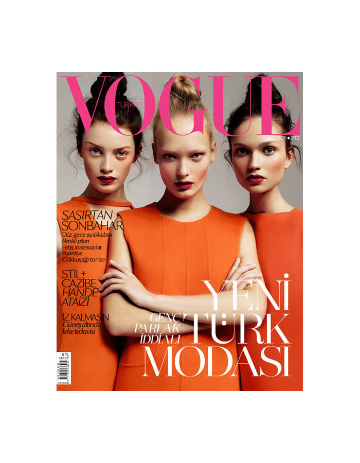 Vogue Turkey August 2011 Cover | Milly Simmonds, Egle Jezepcikaite & Yana Sotnikova by Cuneyt Akeroglu