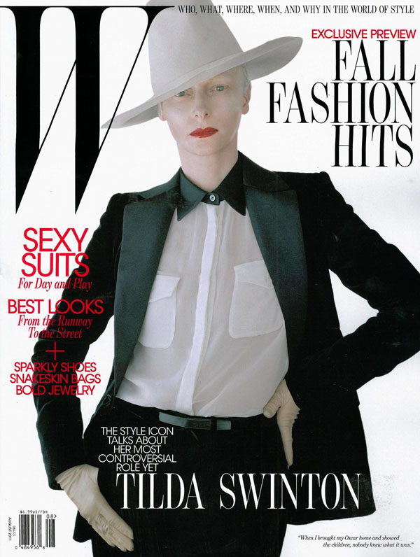Tilda Swinton in Salvatore Ferragamo for W Magazine August 2011 (Cover)