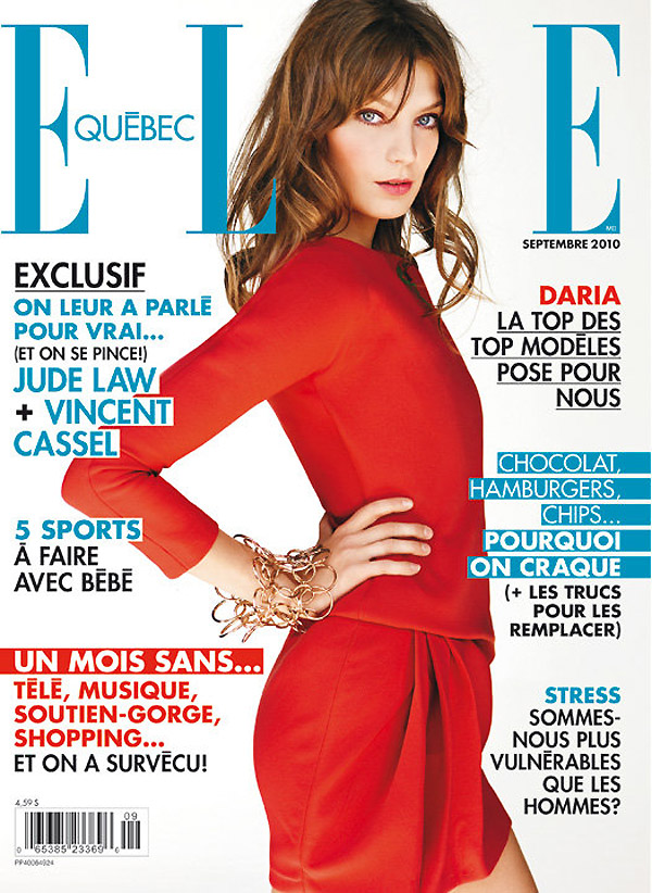 Elle Quebec September 2010 Cover | Daria Werbowy
