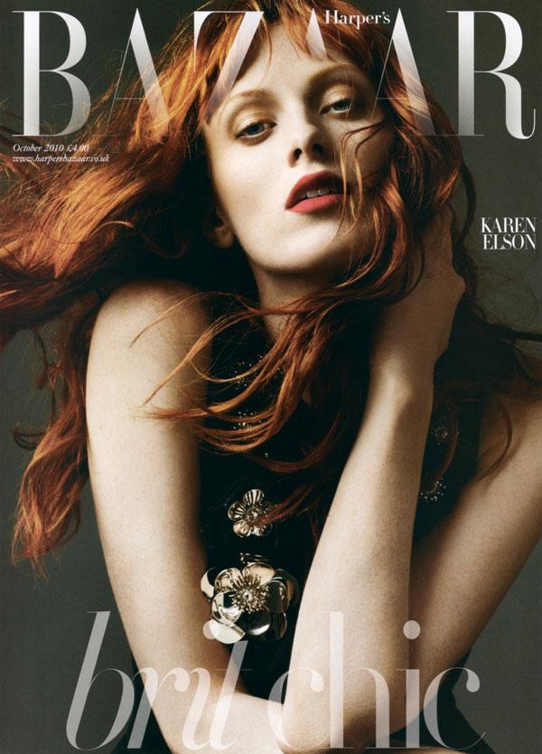 Harper's Bazaar UK October 2010 Cover | Karen Elson by Alexi Lubomirski