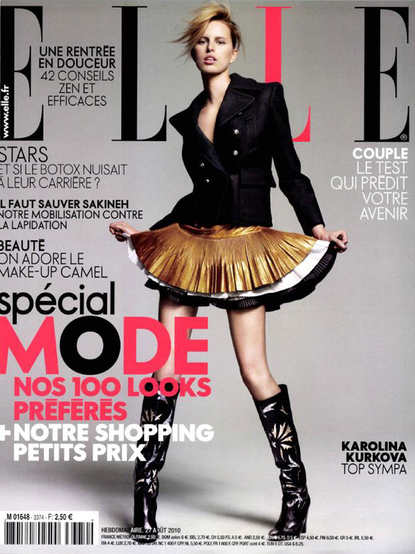 Elle France August 27, 2010 Cover | Karolina Kurkova by Jean-Baptiste Mondino