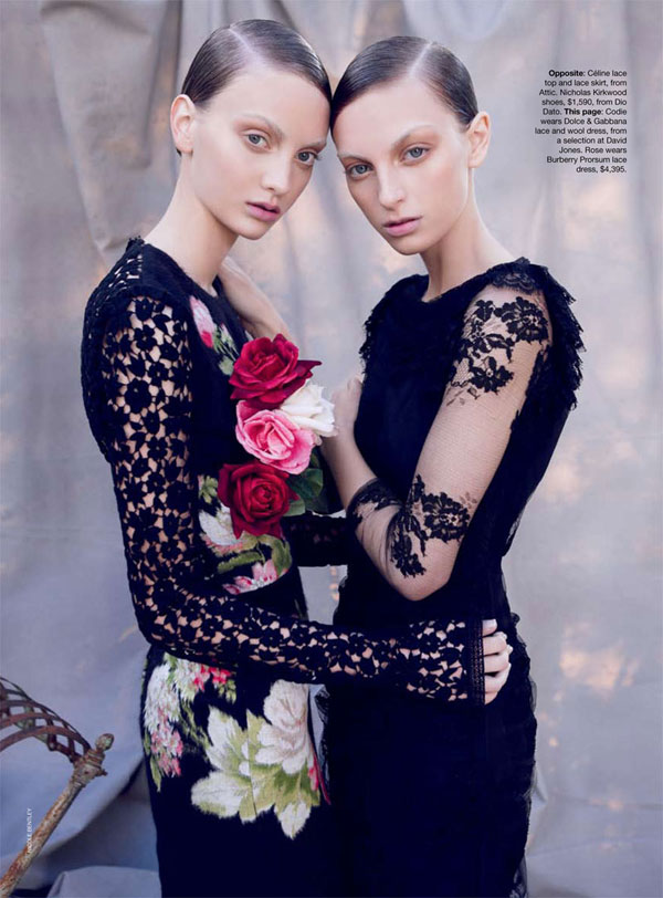 Codie Young & Rosemary Smith by Nicole Bentley for Vogue Australia October 2010