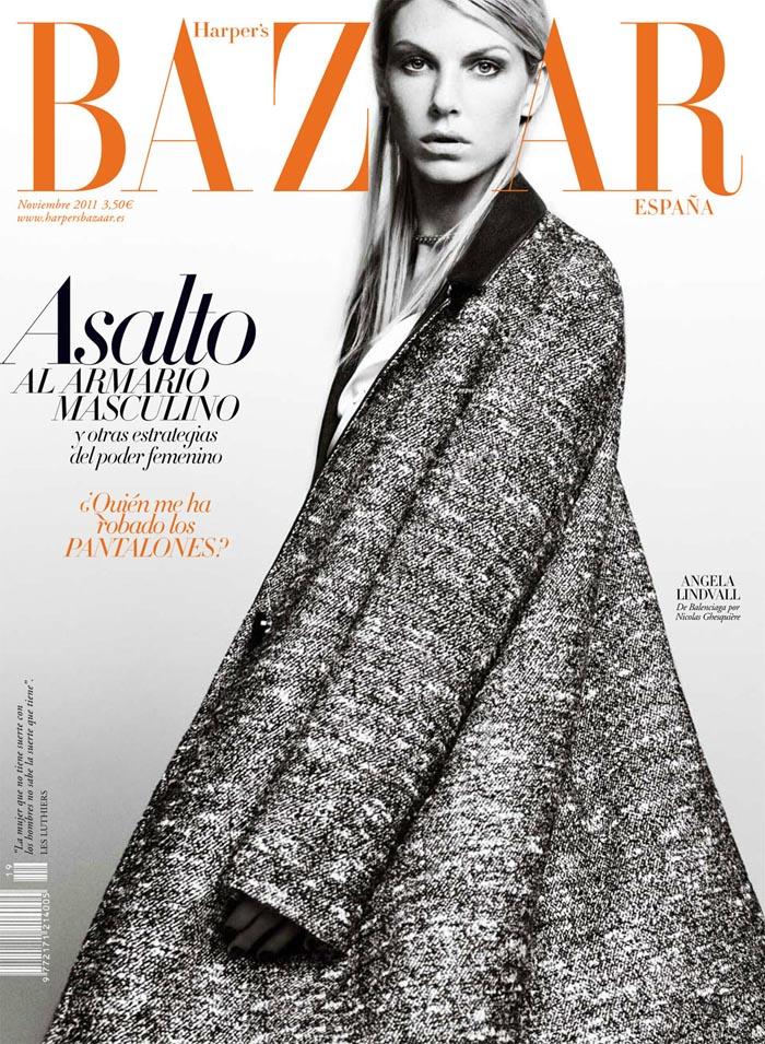Angela Lindvall Covers Harper's Bazaar Spain November 2011 in Balenciaga