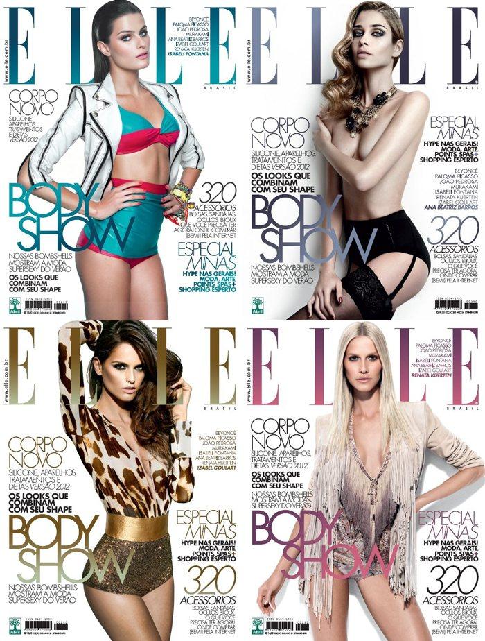 Isabeli Fontana, Izabel Goulart, Ana Beatriz Barros & Renata Kuerten Cover Elle Brazil September 2011