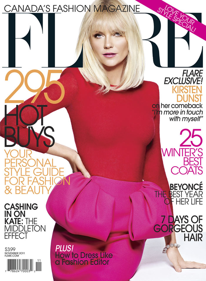 Kirsten Dunst Covers Flare November 2011 in Giambattista Valli