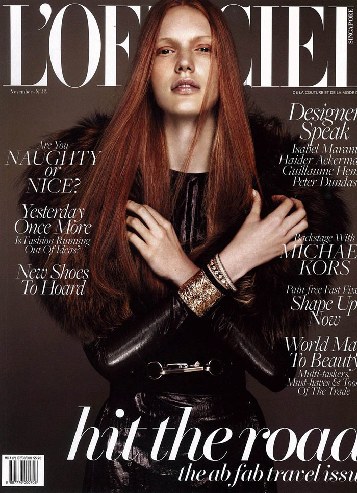L'Officiel Singapore November 2011 Cover | Anniek Kortleve by Wee Khim