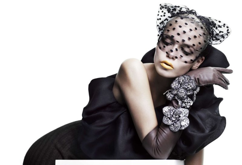 Natasha Poly was icy blonde for Vogue China Collections F/W. / Photo by Willy Vanderperre
