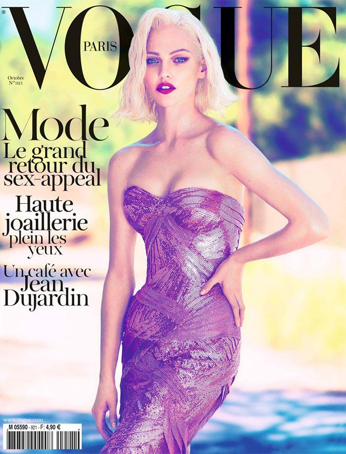 Sasha Pivovarova Covers Vogue Paris October 2011 in Atelier Versace