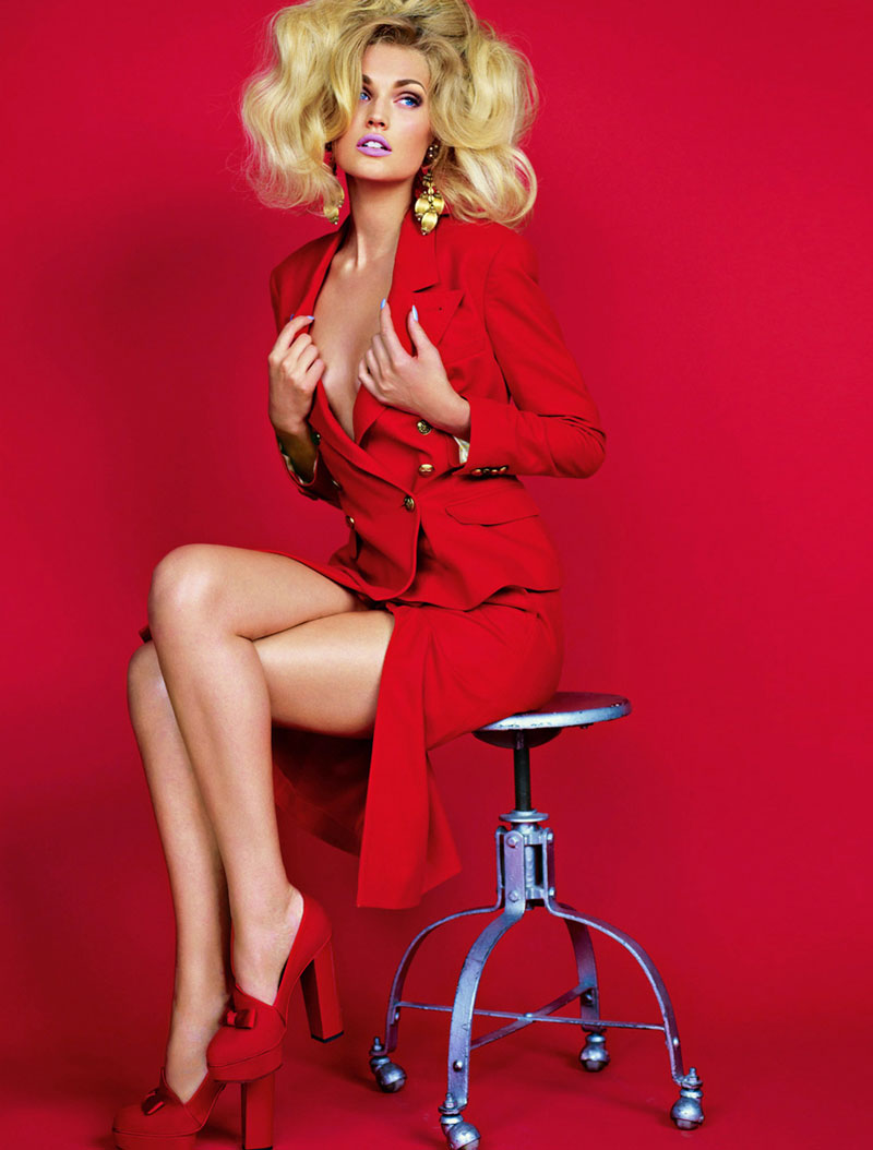 Toni Garrn was a 90s vixen in red for Muse's fall issue lensed by Mariano Vivanco