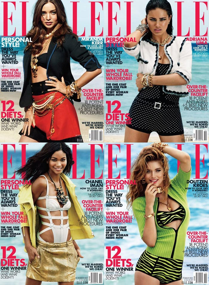 Victoria's Secret models Miranda Kerr, Adriana Lima, Doutzen Kroes and Chanel Iman each posed on the October edition of Elle US / Photo by Alexei Hay