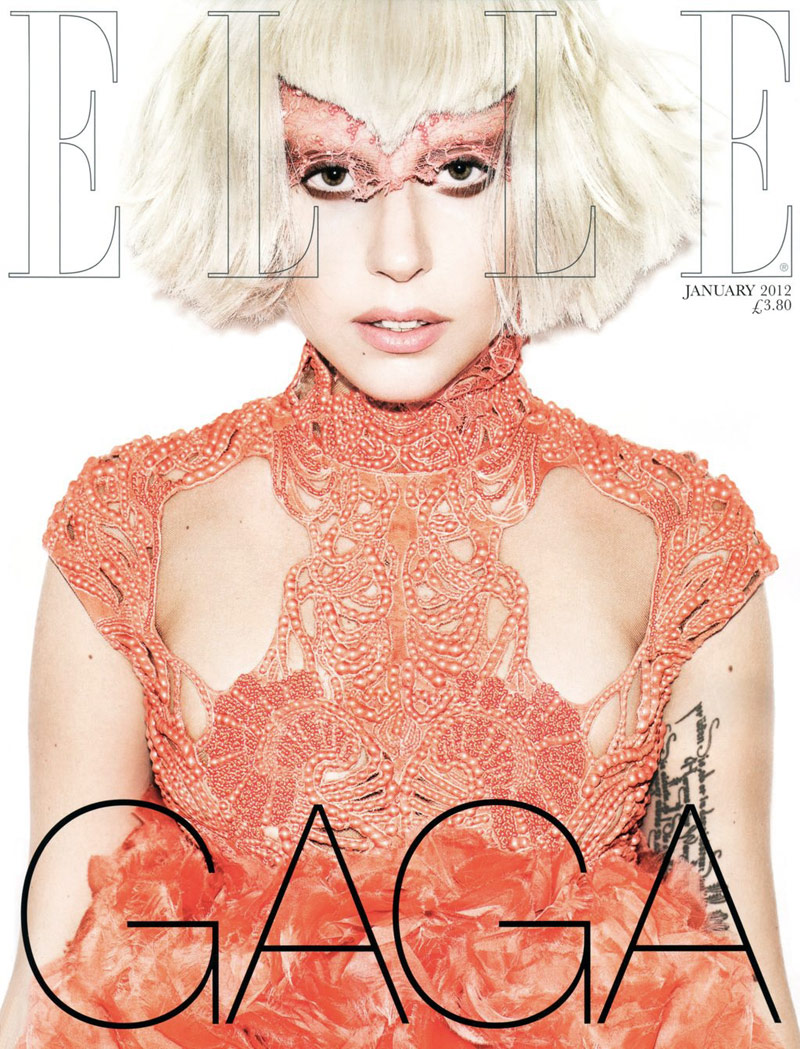 Lady Gaga by Matt Irwin for Elle UK January 2012 (Cover)