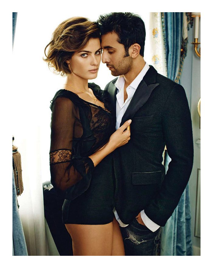 Isabeli Fontana & Ranbir Kapoor by Marc Hom for Vogue India