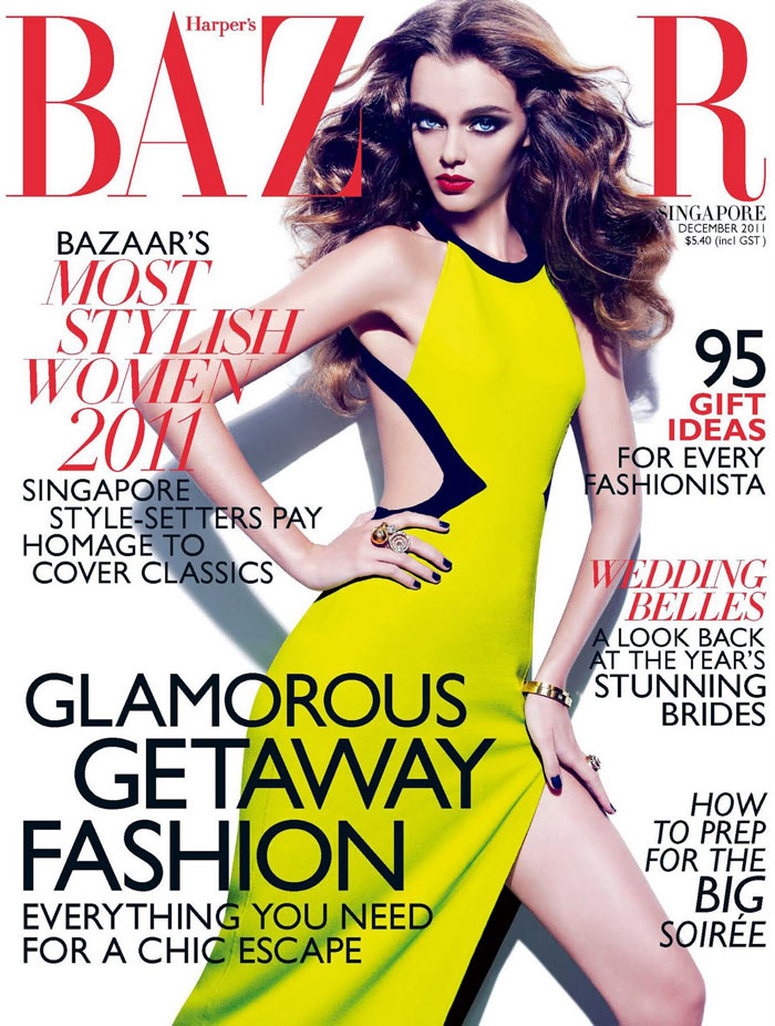 Harper's Bazaar Singapore December 2011 Cover | Masha Tyelna by Gan