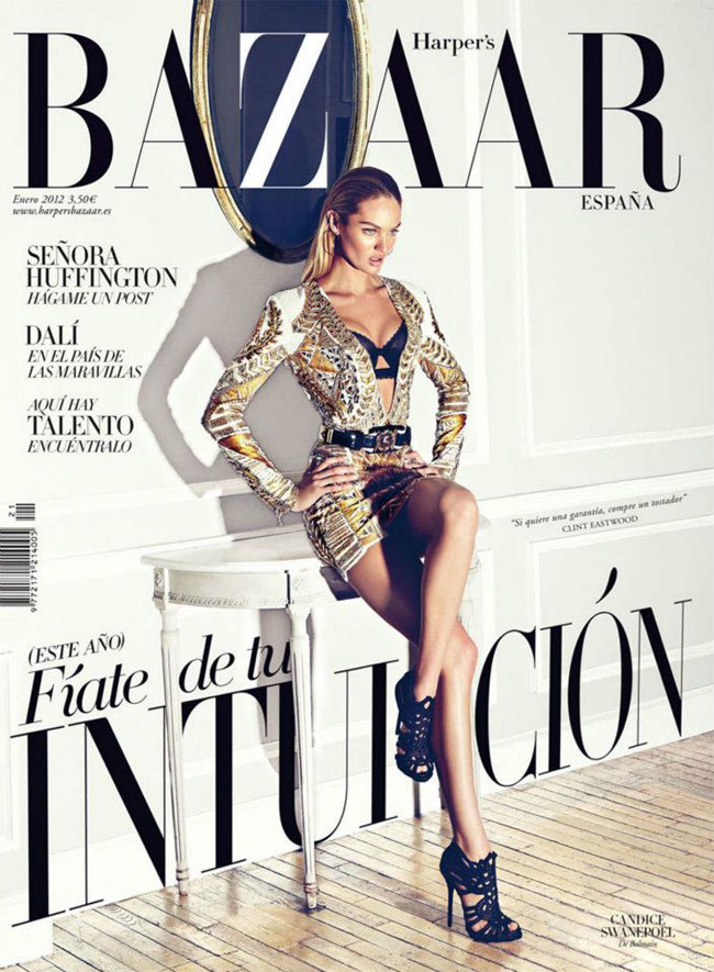 Candice Swanepoel Covers Harper's Bazaar Spain January 2012 in Balmain