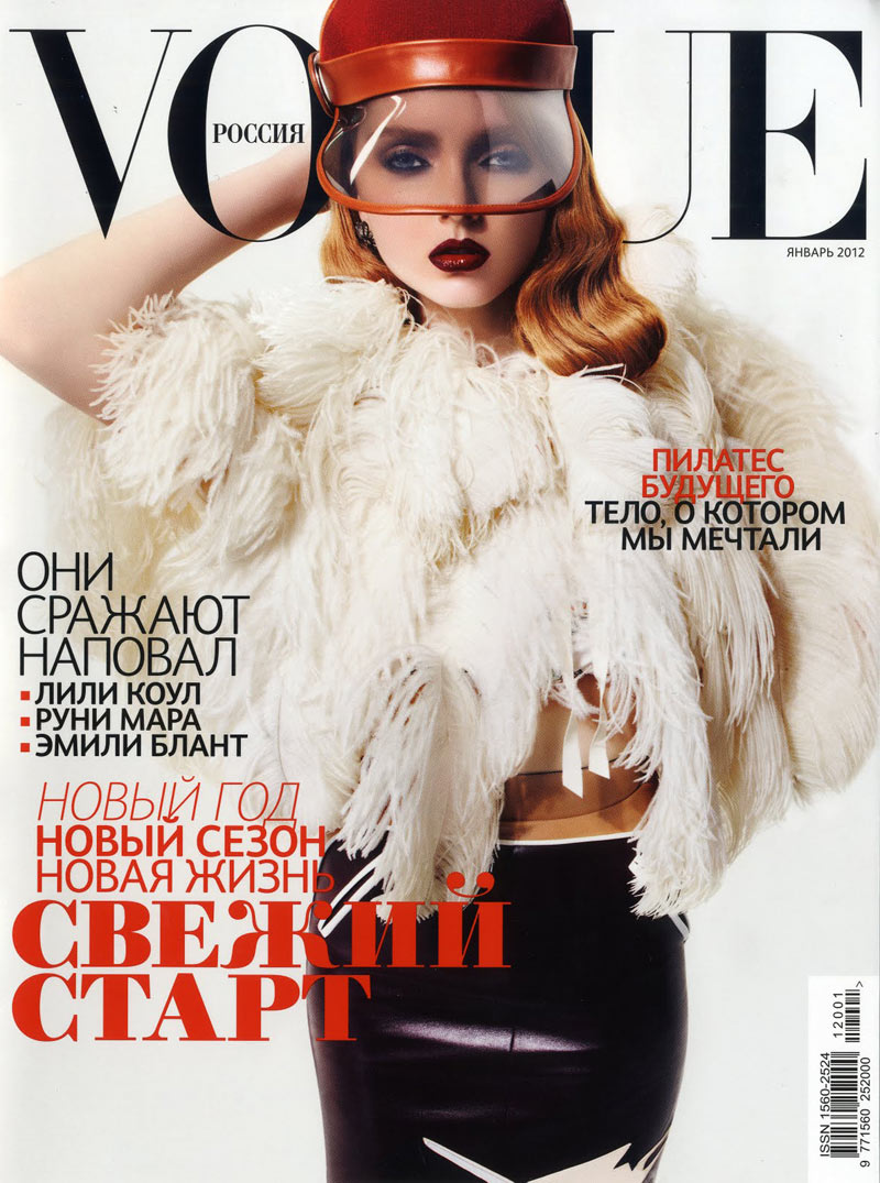 Vogue Russia January 2012 Cover | Lily Cole by Anthony Maule