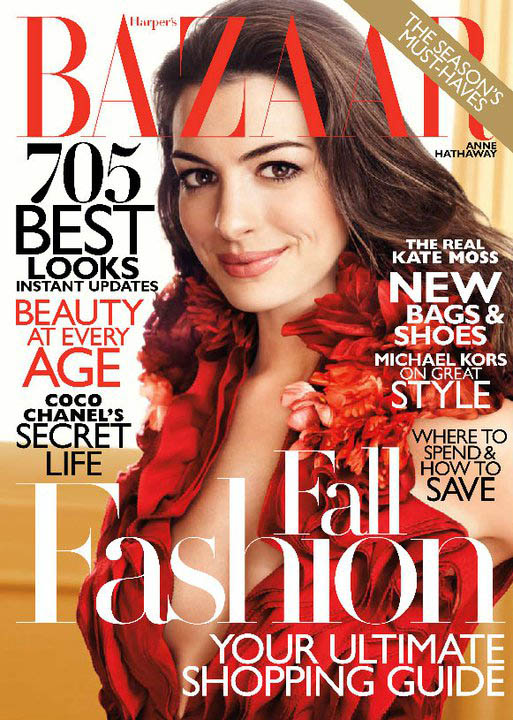 Anne Hathaway Covers Harper's Bazaar US August 2011