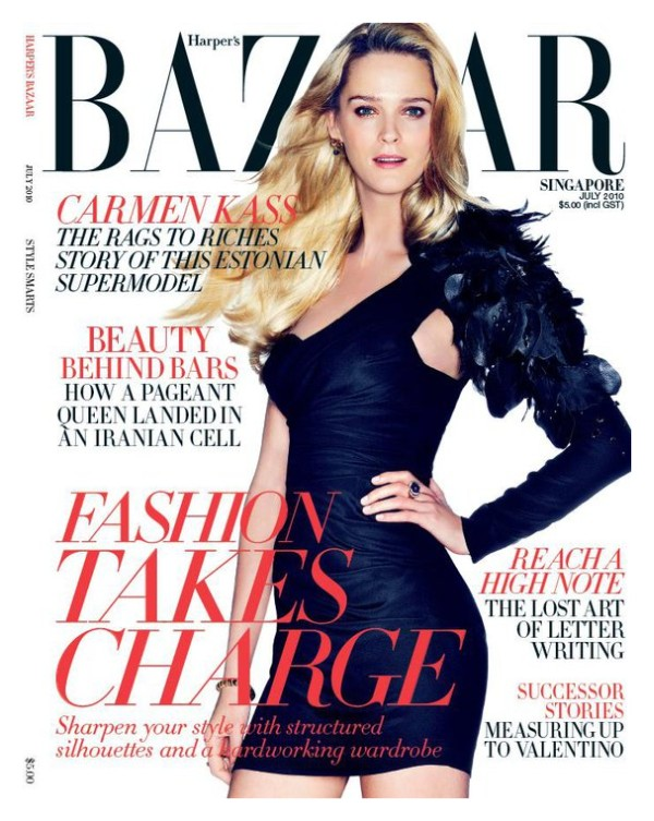 Harper's Bazaar Singapore July 2010 Cover   Carmen Kass