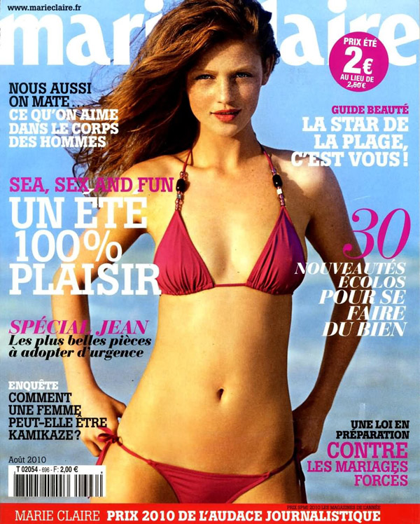 Marie Claire France August 2010 Cover | Cintia Dicker by Emmanuelle Haugel