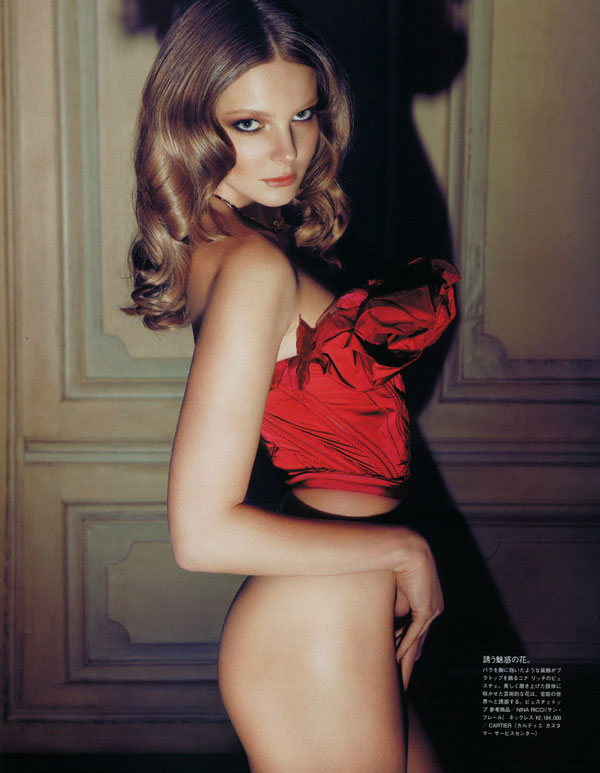 Eniko Mihalik by Camilla Akrans in Red Star | Vogue Nippon August 2010