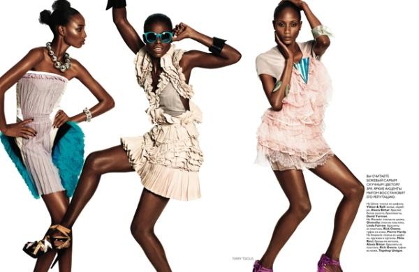 Sedene, Jeneil, Shena, Reina & Aminata for Vogue Russia July 2010 by Terry Tsiolis