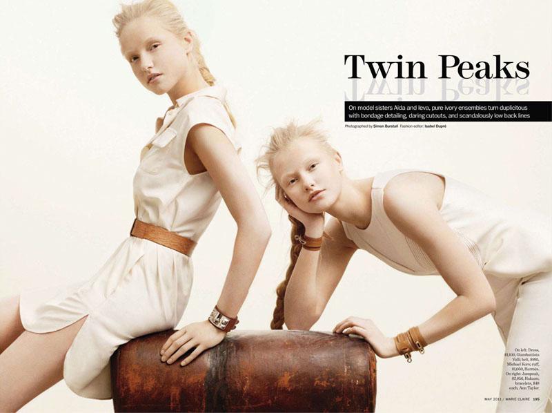 Ieva Aniulyte & Aida Aniulyte by Simon Burstall for Marie Claire US May 2011