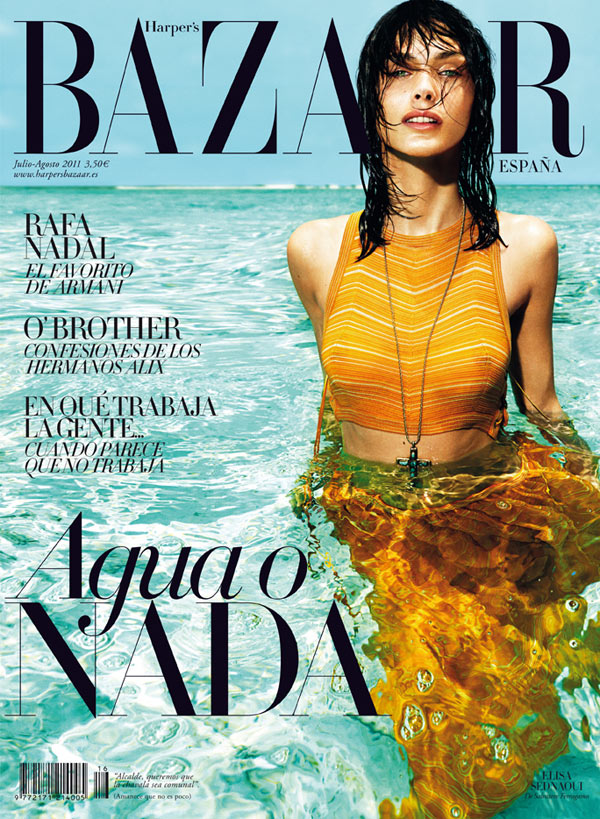 Elisa Sednaoui in Salvatore Ferragamo for Harper's Bazaar Spain July/August 2011 (Cover)