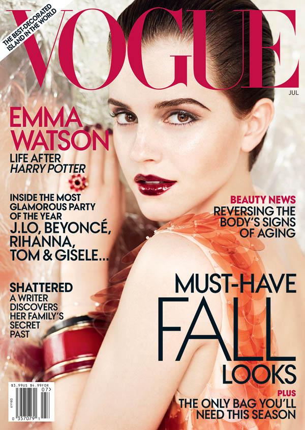 Vogue US July 2011 Cover | Emma Watson by Mario Testino