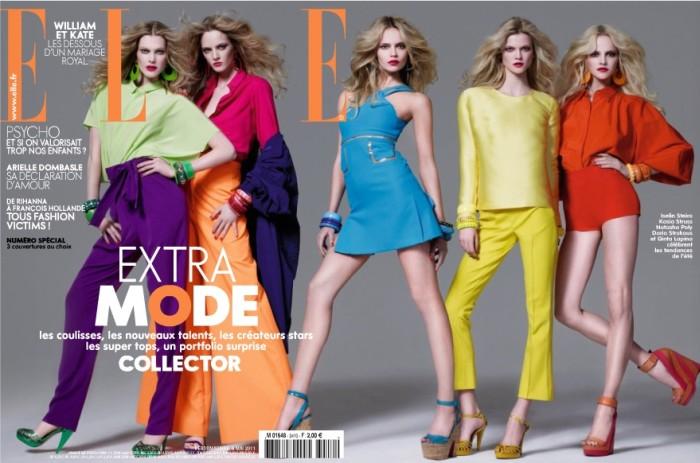 Elle France May 2011 Cover | Natasha Poly, Iselin Steiro & Kasia Struss by Jean-Baptiste Mondino