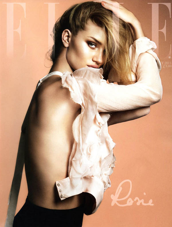Elle UK July 2011 Cover | Rosie Huntington-Whiteley by Terry Tsiolis