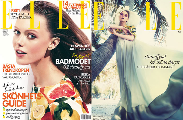 Elle Sweden May 2011 Cover   Frida Gustavsson & Rosie Tupper by Andreas Sjodin