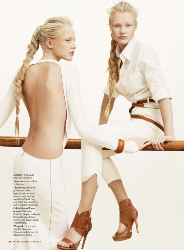 Ieva Aniulyte & Aida Aniulyte by Simon Burstall for Marie Claire US May 2011